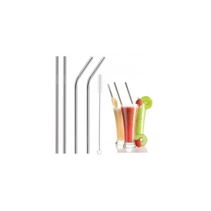 Eco & Health Stainless Steel Drinking Straws 2 Bend & 2 Straight Straws 1 Brush