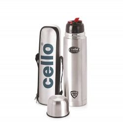 Cello Flip Style Stainless Steel Bottle 750ml Silver