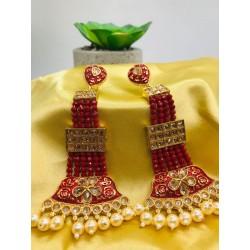 Anaghya Polki Red Crystal Long Earrings For Women Nd GirlsAnaghya Polki Red Crystal Long Earrings For Women Nd Girls