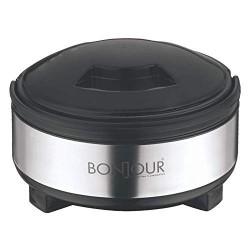 Bonjour Dawat Stainless Steel Hot Pot Casserole Black & Grey 2500ml